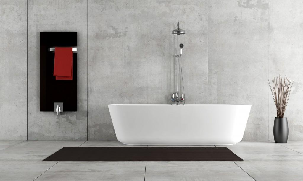 Badezimmer mit grossformatigen Feinsteinzeugplatten